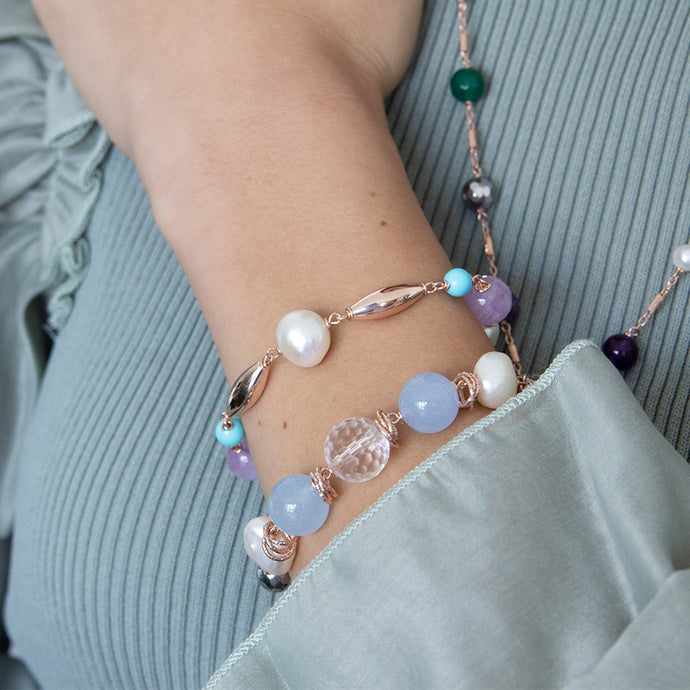 Pearl, Turquoise and Amethyst Bracelet