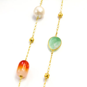 Agate, Aventurine & Baroque Pearl Long Necklace