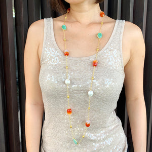 Agate, Amazonite & Baroque Pearl Long Necklace