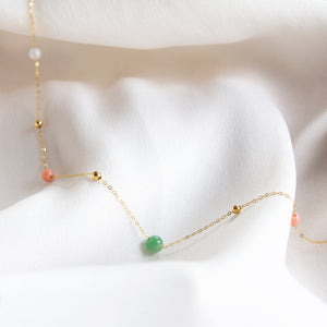Multi Jade Necklace with Coral