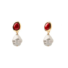 Velatti Gemstone Studs with Majorca Pearl