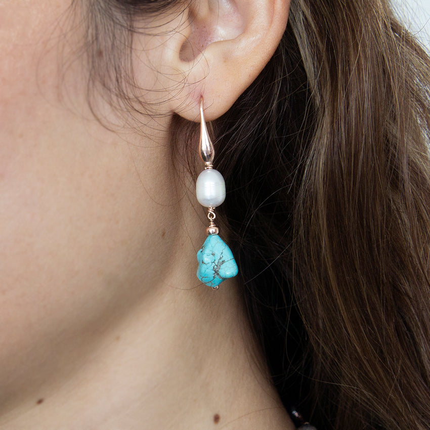 Pearl and Howlite Hook Earrings