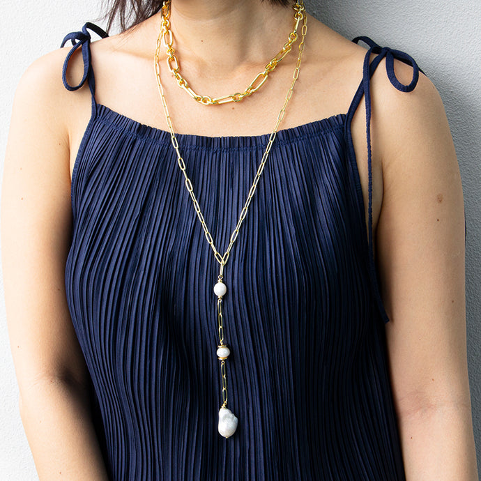 Velatti White Pearl Links Long Drop Necklace