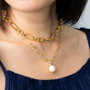 Velatti Pearl Drop Short Links Necklace (Pre-Order)
