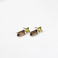Smoky Quartz with Peridot Drop Earrings
