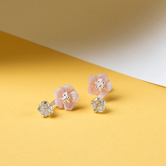 Pink Mother of Pearl Flower Studs