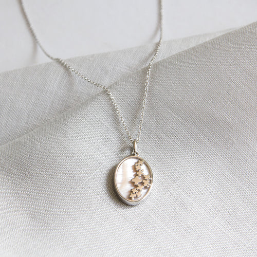 Oval Pink Mother of Pearl Necklace