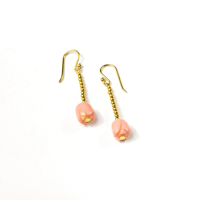 Pink Coral Flower Earrings