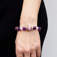 Amethyst, Cats Eye and Pink Jade Stretch Bracelet