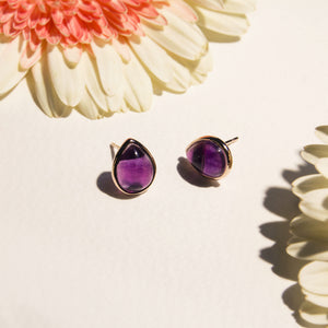 teardrop fluorite gemstone stud earrings
