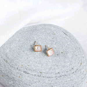 dainty sterling silver studs with rainbow moonstone