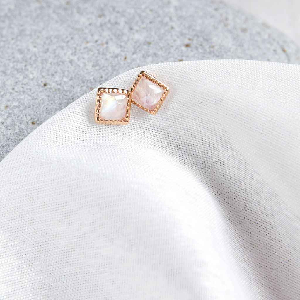 Rainbow Moonstone diamond shaped studs