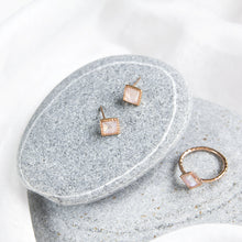 rainbow moonstone stud earrings with rose gold plating