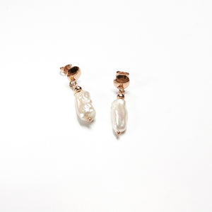 Rectangle Freshwater Pearl Earrings