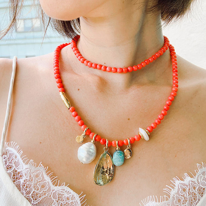 Velatti Long Red Agate Charm Necklace
