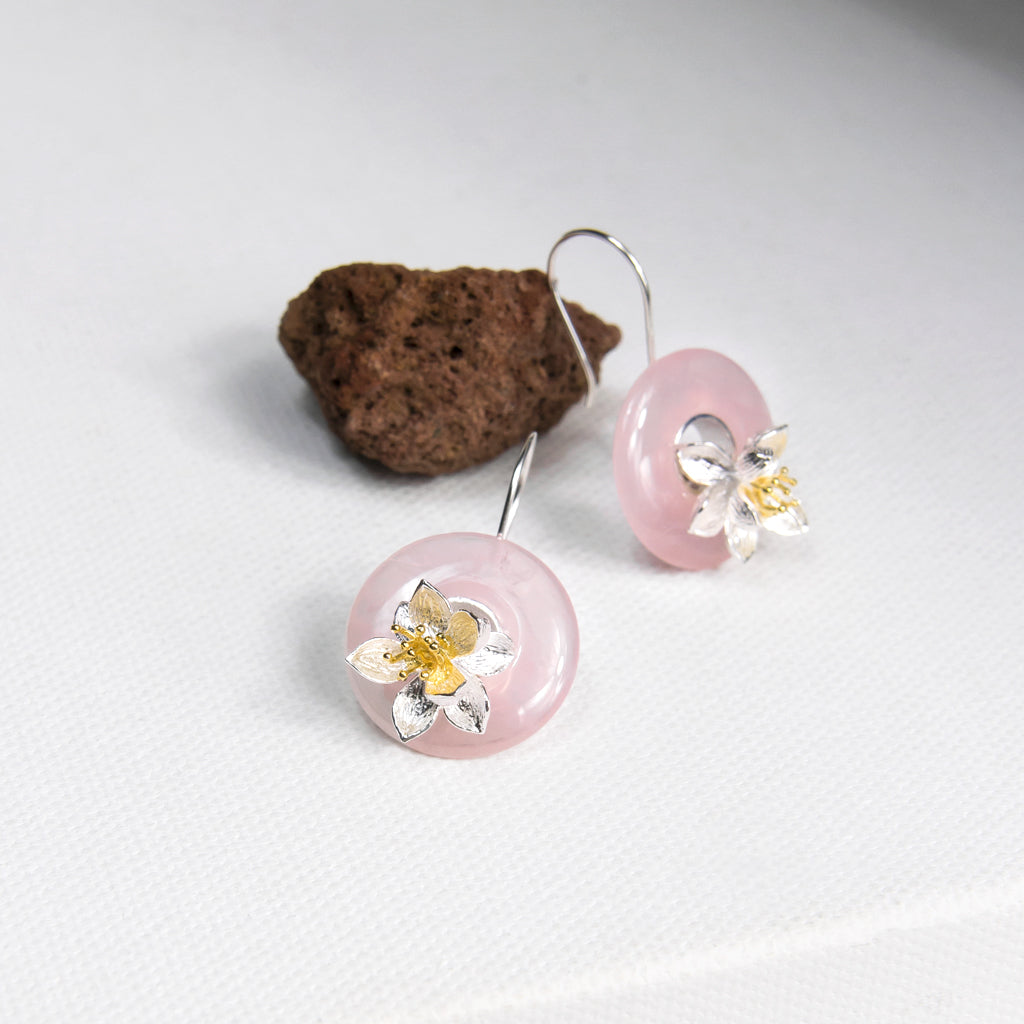 Rose Quartz Circle and Flower Earrings