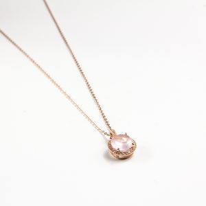 Rose Quartz Rose Cut Necklace