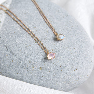 dainty layering necklace with labradorite gemstone