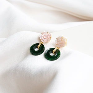 Pink Mother of Pearl Flower With Jade Donut 18K Gold Earrings