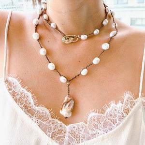 Velatii Hand Braided Lariat Necklace with Rose Baroque Pearl