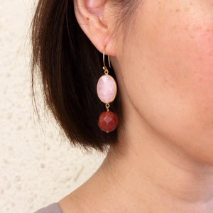 Rose Quartz and Red Jasper Drop Earrings