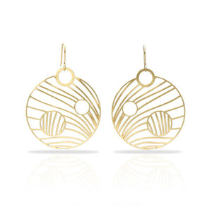 RAS Stars Gold Round Earrings