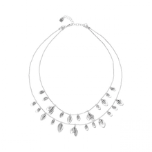 Leaf necklace nature silver plated