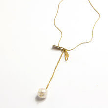 Short Dragonfly Pearl Drop Necklace