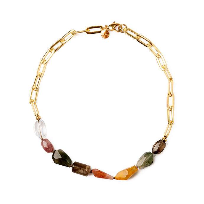 Velatti Short Links Necklace with Multi Quartz