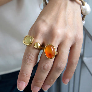Velatti Slant Oval Gemstone Ring