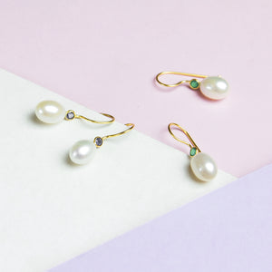Small Freshwater Pearl with Stone Earrings