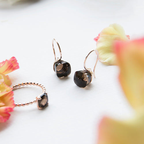 Smoky Quartz Cushion Cut Earrings