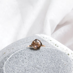 cushion cut smoky quartz fine ring