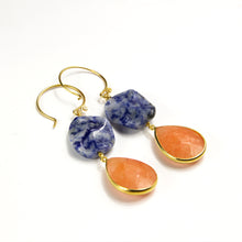 Sodalite & Orange Quartz Drop Earrings
