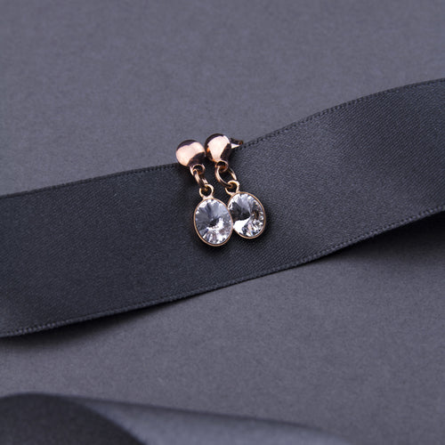 crystal drop stud earrings with rose gold plating