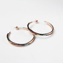 Rainbow crystal hoop earrings rose gold