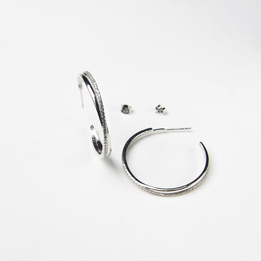 925 sterling silver hoop earrings crystal