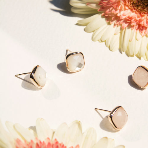 square cut faceted mother of pearl or rose quartz stud earrings