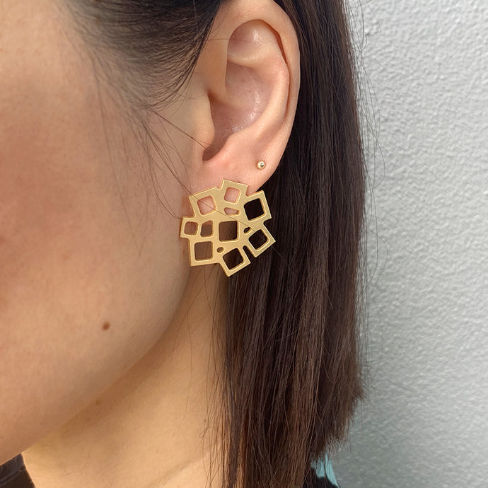 RAS Squared Square Gold Earring