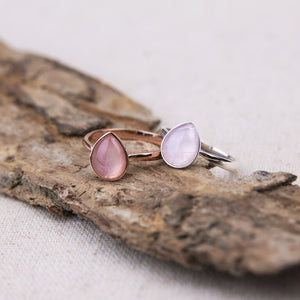 teardrop rose quartz rings