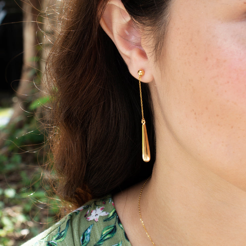 18k Gold Droplet Stud Earring
