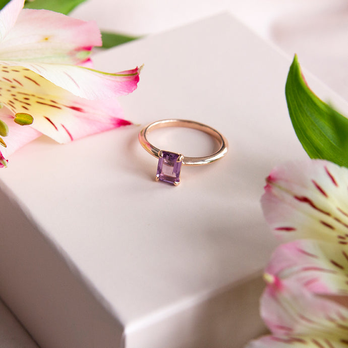 Esme Emerald Cut Amethyst Ring