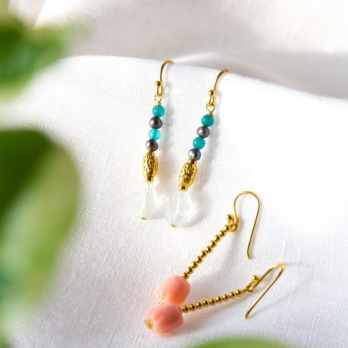 Topaz and Quartz Drop Earrings