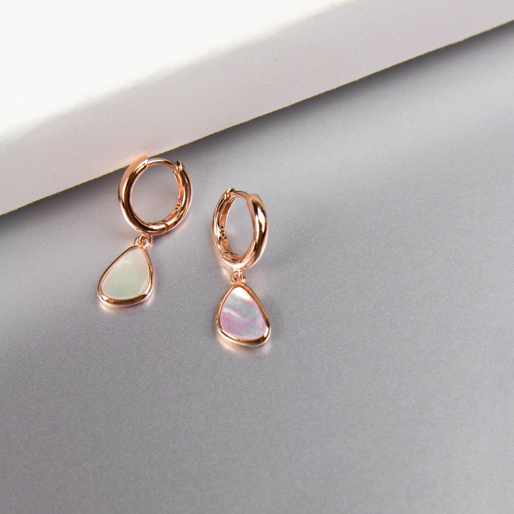 Triangle Mother of Pearl Hoops