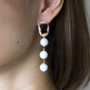 Triple Drop White Howlite Earrings