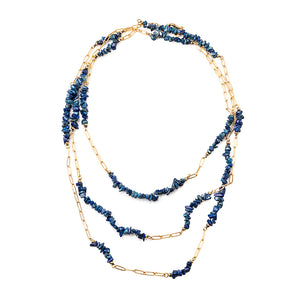 Velatti Triple Strand Gemstone Necklace