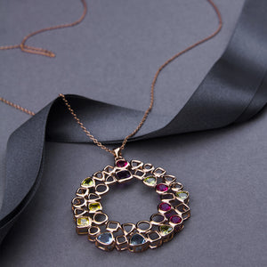 statement oversized pendant long necklace with coloured swarovski crystals