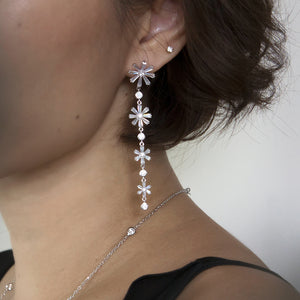 women jewellery long flower earring