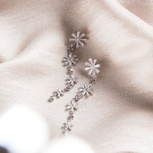 encrusted flower earrings long sterling silver