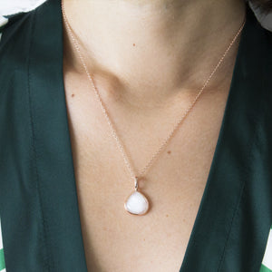 White Moonstone Teardrop Pendant Necklace